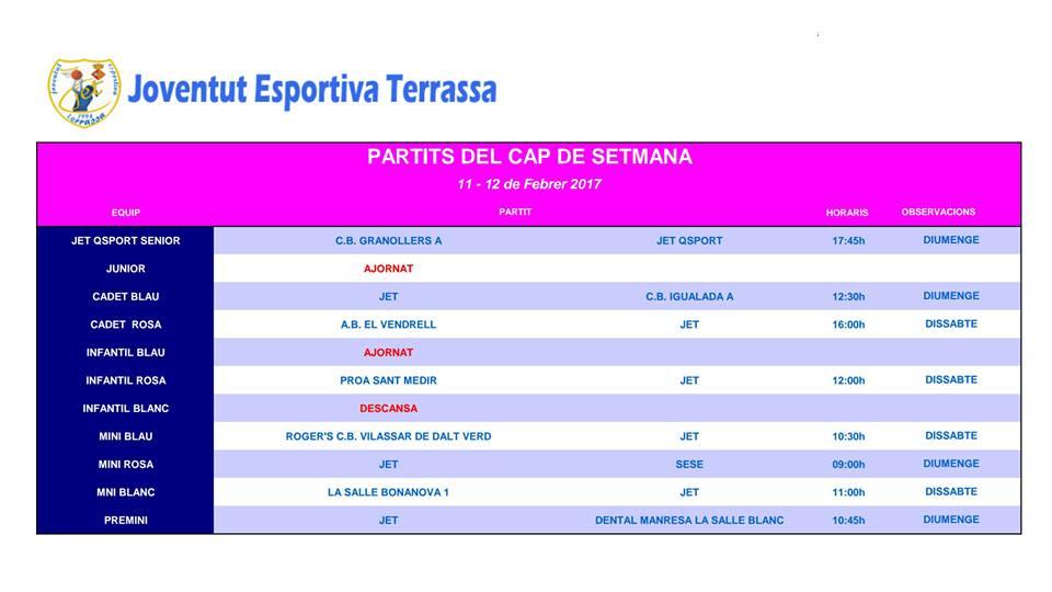 JET_TERRASSA PARTITS DE LA SETMANA